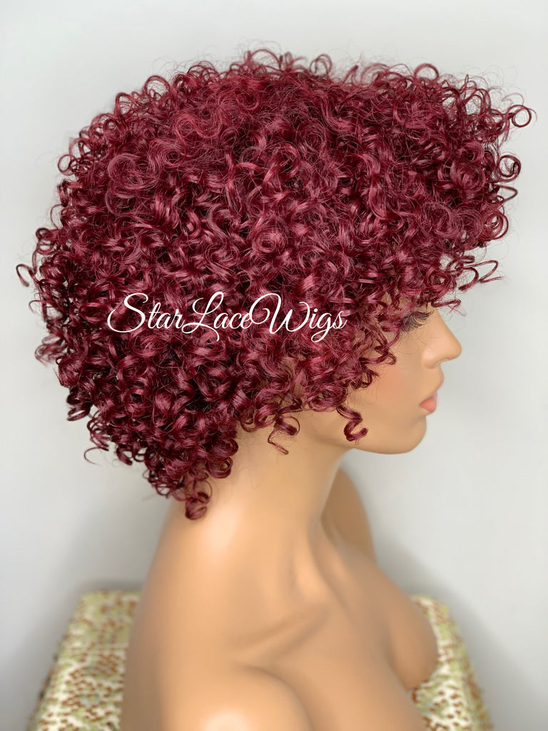 Short Curly Wig Layers Burgundy Bangs - Justina