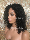 Lace Front Wig Short Curly Synthetic Brown Black - Cleo