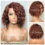 Wavy Lace Front Bob Wig Ginger Auburn Red Side Part - Cherry