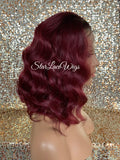 Wavy Lace Front Bob Wig (6x13) Parting Space Burgundy Dark Roots - Tera