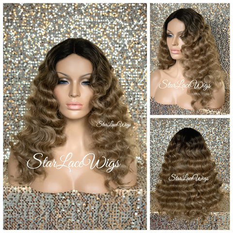 Lace Front Wig Synthetic Wavy Black Brown Middle Part - Aubrey