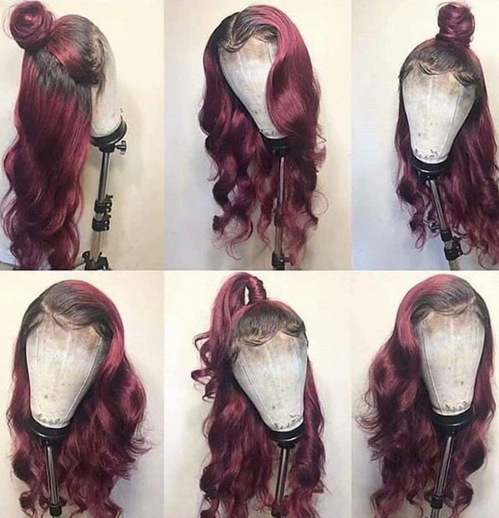 Human Hair Lace Front Wig 13x6 Body Wave Color #1b & Burgundy - Gia