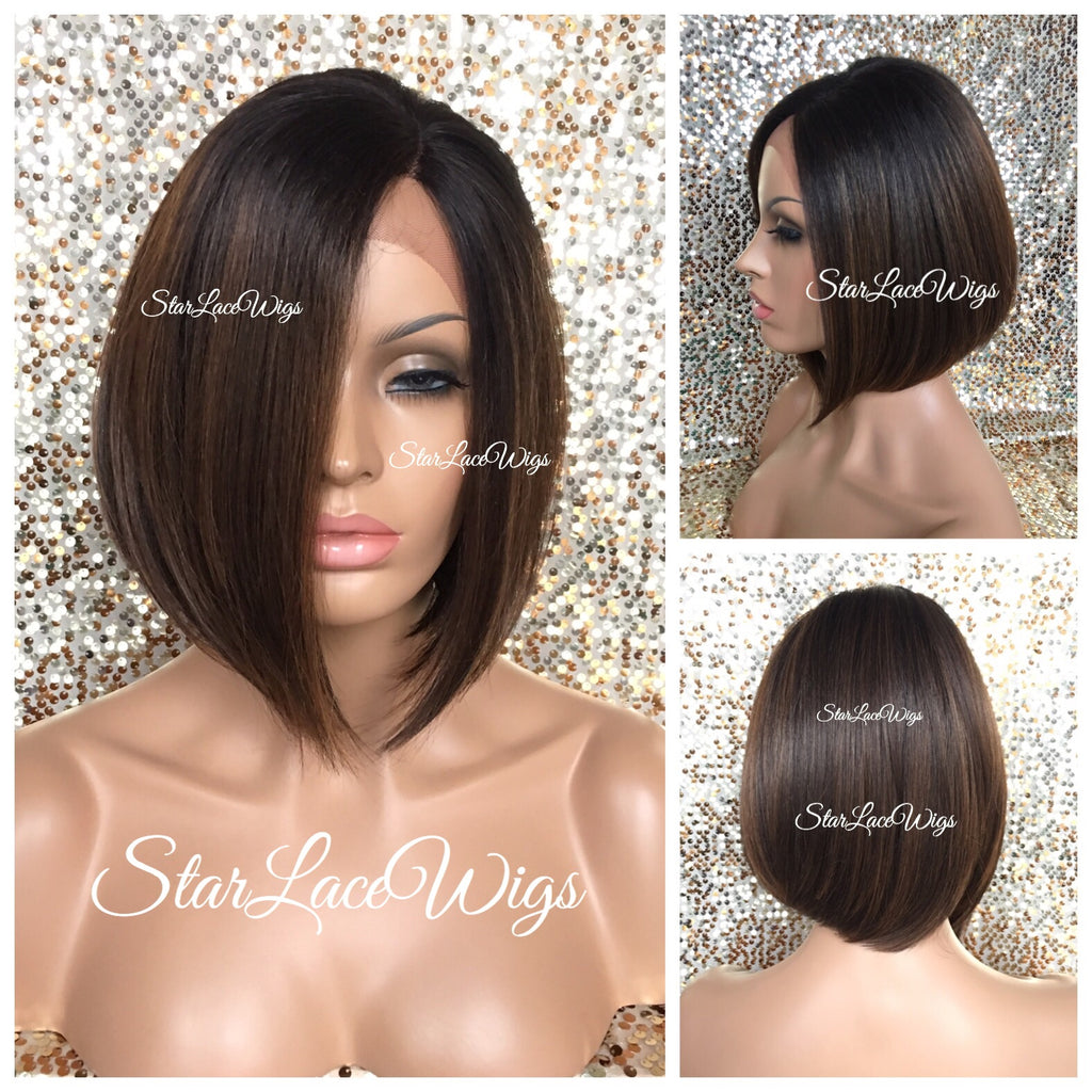 Lace Front Wig Asymmetrical Angled Bob Straight Brown Synthetic - Francesca