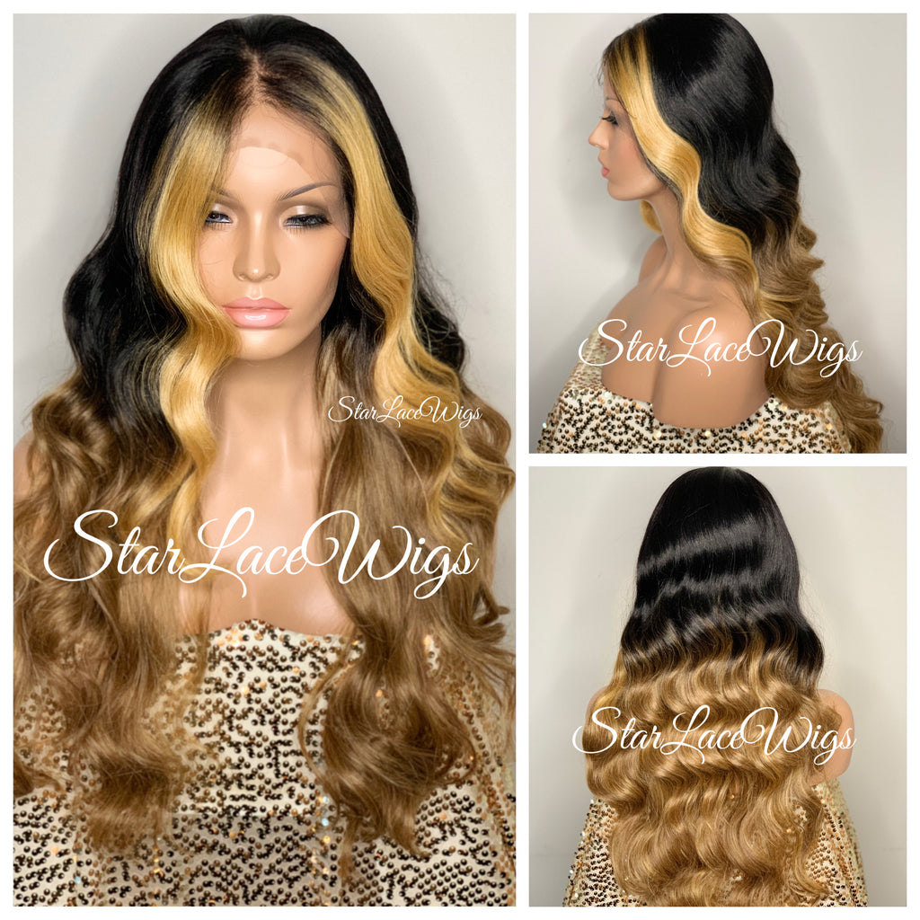 Long Wavy Ombre Brown Lace Front Wig (6x13) Parting Space Blonde Highlights - Phoenix
