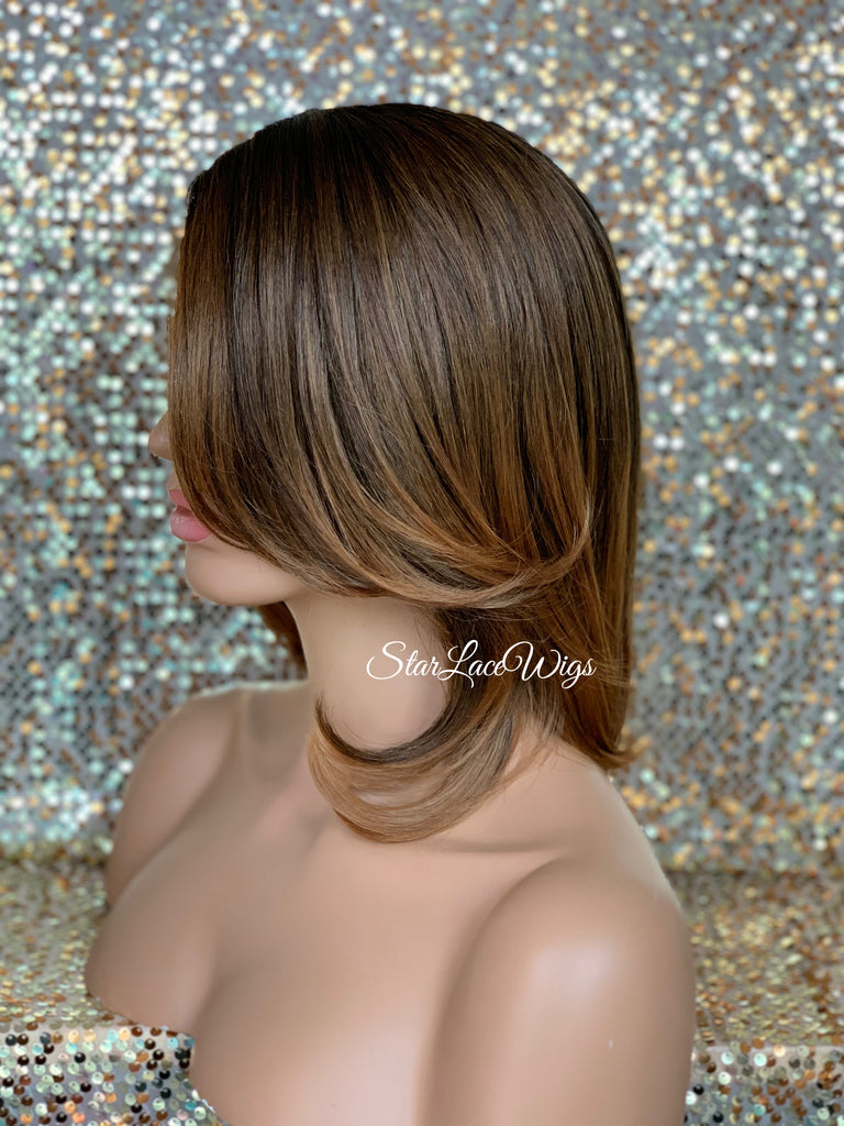 Lace Front Wig Bob Brown Auburn Dark Roots Side Part Straight Bangs - Hazel