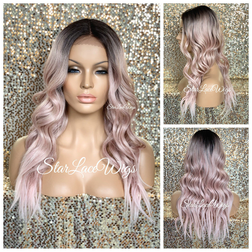Lace Front Wig Light Pink Dark Roots Long Loose Waves Middle Part - Olivia