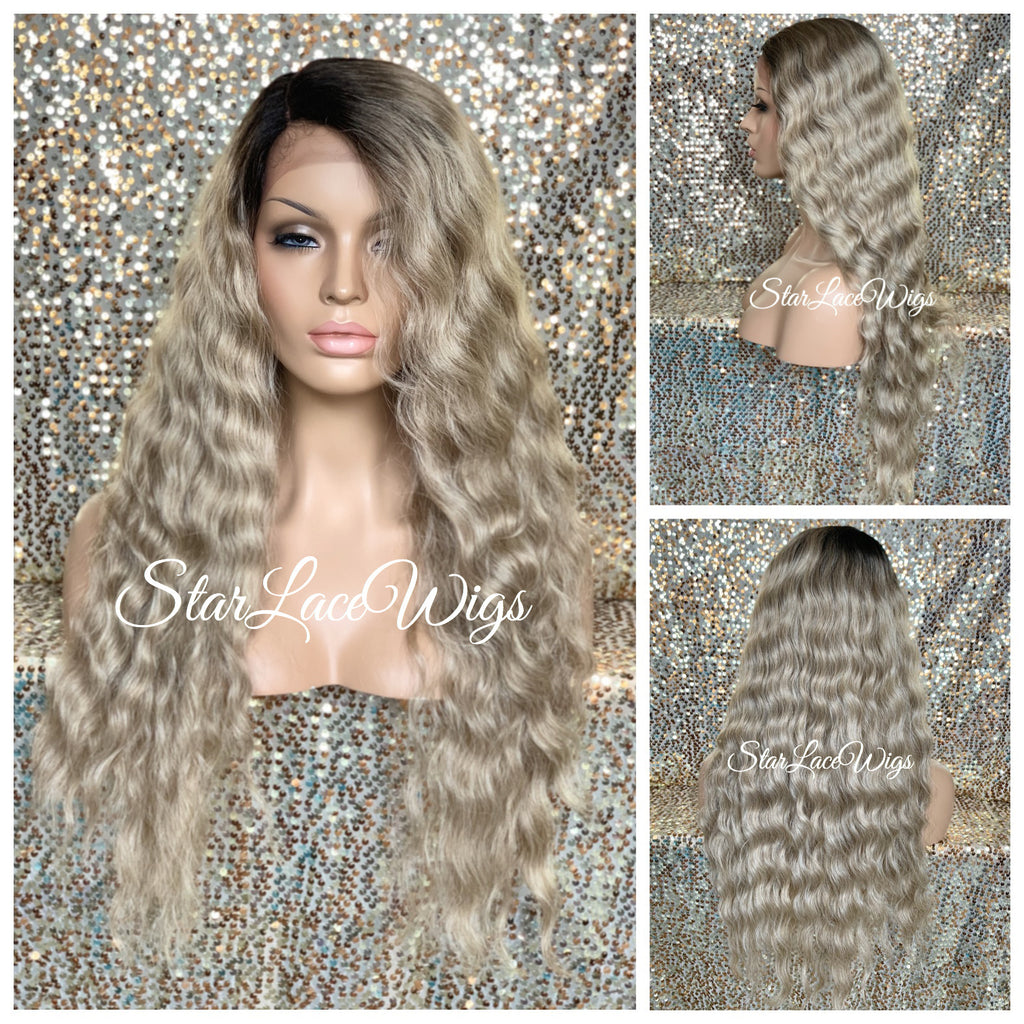 Lace Front Wig Sandy Ash Blonde Dark Roots Long Wavy Middle Part - Fantasia