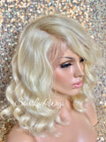 Short Wavy Platinum Blonde Lace Front Bob Wig (6x13) Parting Space - Blanca