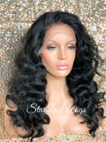 Long Wavy Lace Front Wig (6x13) Parting Space Body Wave Black - Faith