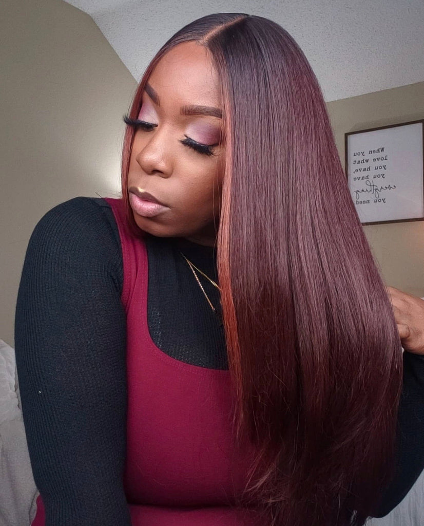 Lace Front Wig Synthetic Brown Auburn Long Straight Middle Part - Lorna