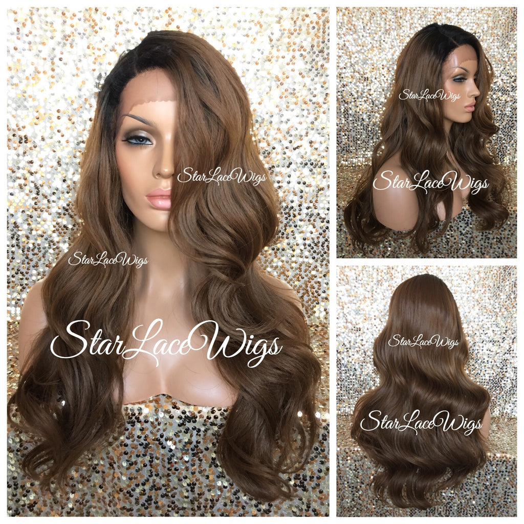 Lace Front Wig Human Hair Blend #30 Roots #1b Curly Layered - Avery