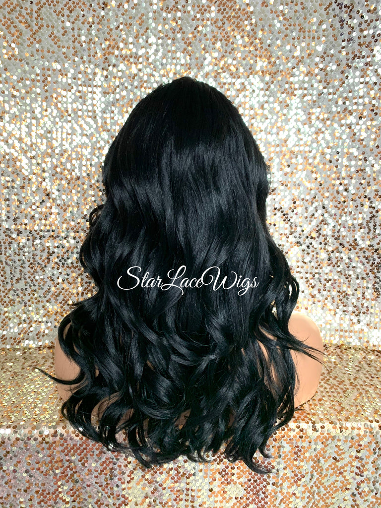 Long Loose Curly Wig Black Brown Middle Part Synthetic - Lisa