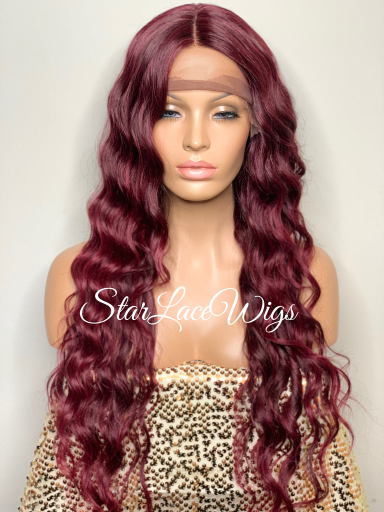 Lace Front Wig Long Synthetic Wavy Layers Burgundy Middle Part - Josey