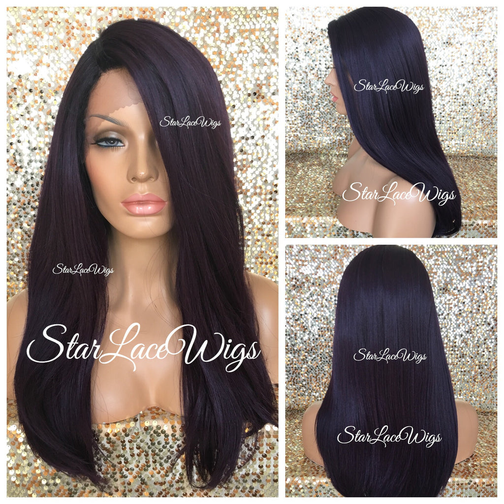 Lace Front Wig Human Hair Blend Dark Purple Black Roots Straight - Lillian