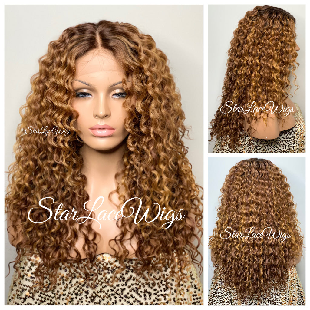 Synthetic Lace Front Wig Auburn Strawberry Blonde Long Dark Roots Curly - Claudia