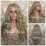 Lace Front Wig Sandy Blonde Ash Blonde Champagne Blonde Long Wavy Middle Part - Chartreuse