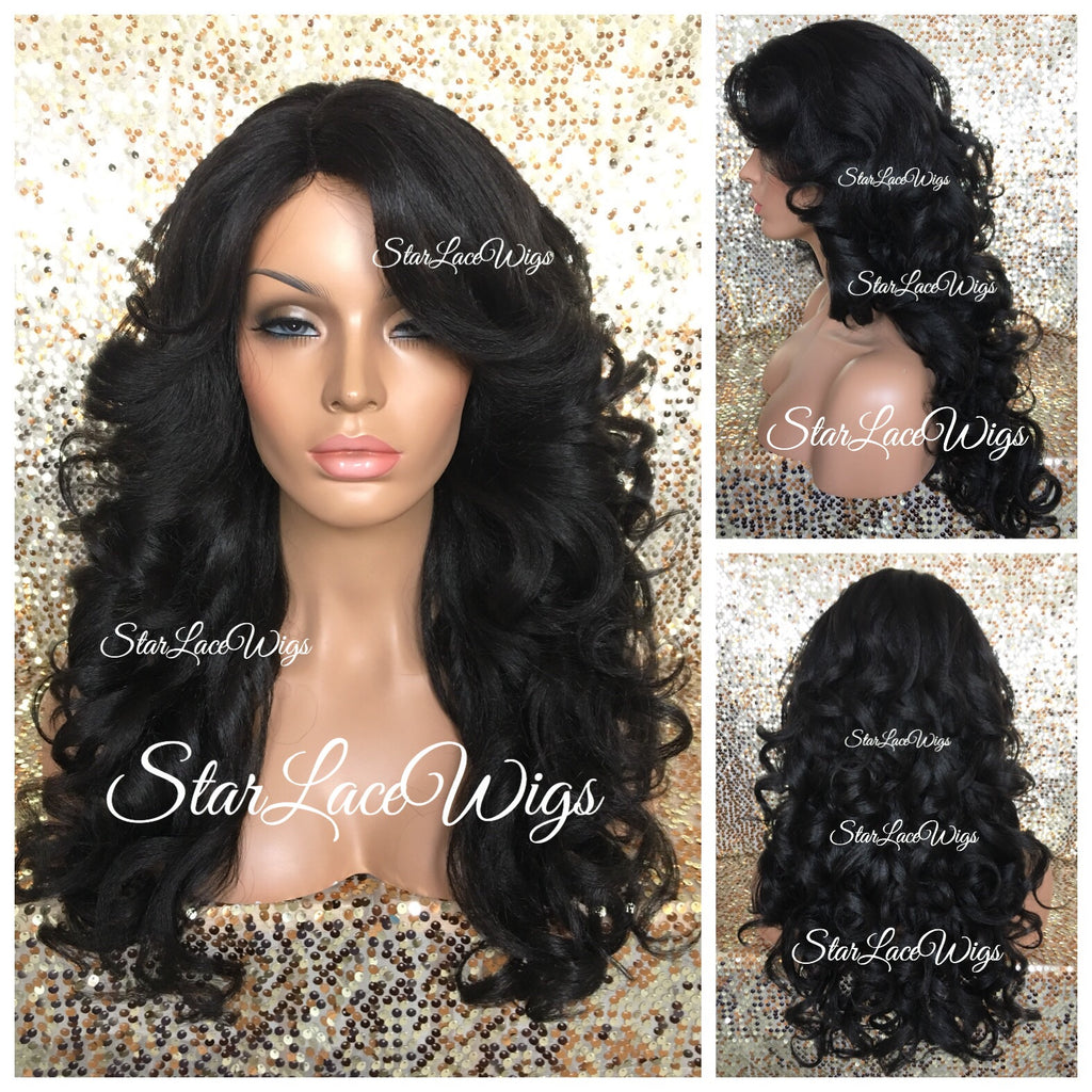 Long Synthetic Wig Curly Layers Bangs Black - Ellie