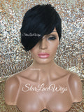 Short Synthetic Wig Black Pixie Bangs - Aubree