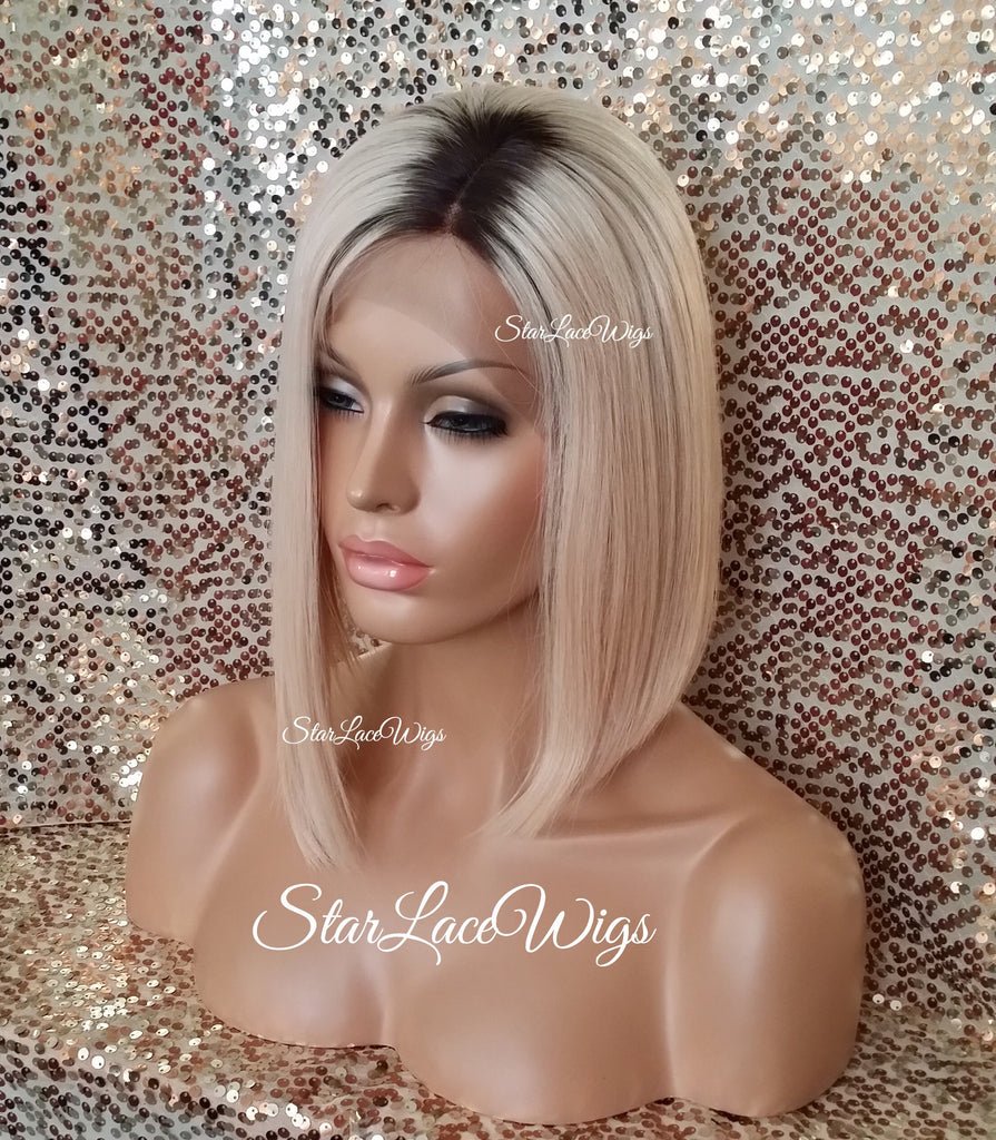 Human Hair Lace Front Wig Beyonce Celebrity Inspired Blonde Bob - Bey