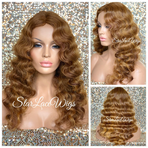 Lace Front Wig Long Wavy Curly Middle Part Black Brown - Rose