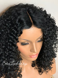Synthetic Curly Full Wig Black Middle Part Shoulder Length - Monica