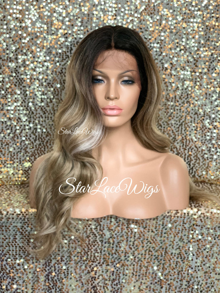 Lace Front Wig Long Synthetic Loose Curls Dirty Ash Blonde Dark Roots Middle Part - Lily