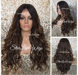 Lace Front Wig Synthetic Ombre 4/27/30 Long Wavy Middle Part - Harper