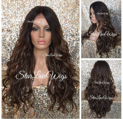Long Wavy Brown Auburn Blonde Synthetic Lace Front Wig Bangs Highlights - Sabrina