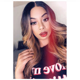 Long Loose Curly Wig Light Brown Highlights Dark Roots Middle Part Synthetic - Cherry