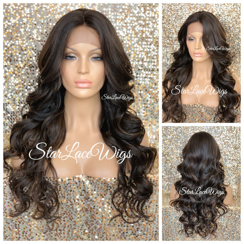 Lace Front Wig Synthetic 4/27/30 Ombre Long Wavy Middle Part - Zane