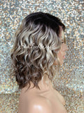 Lace Front Wig Short Wavy Ash Blonde Synthetic Bob Brown Roots - Cina