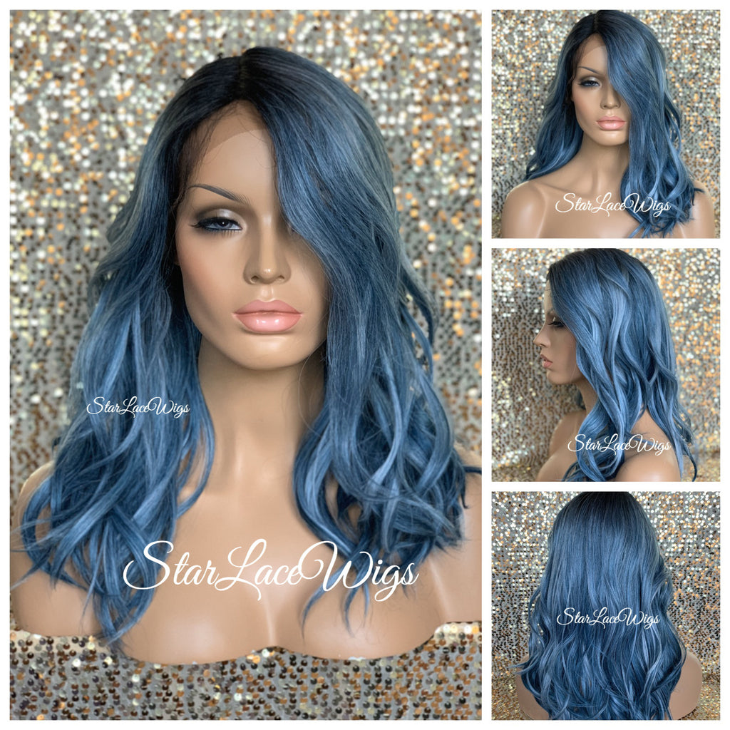Lace Front Wig Straight Blue Synthetic Long Dark Roots - Sky