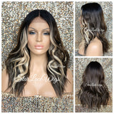 Lace Front Wig Long Wavy Middle Part Chocolate Brown Blonde Highlights Black Roots - Caroline