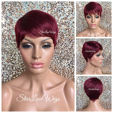 Short Curly Ombré Wig Layers Red Orange Burgundy Plum Bangs - Autumn