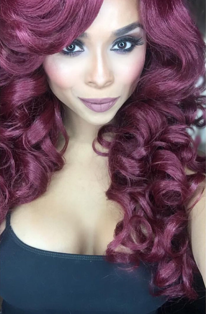 Long Curly Synthetic Red Wine Layered Wig Bangs - Cher