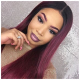Lace Front Wig Human Hair Blend Burgundy Red Long Straight - Monique