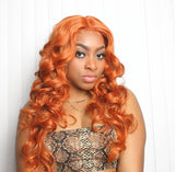 Long Curly Orange Copper Red Middle Part Layered Synthetic Wig - Queen