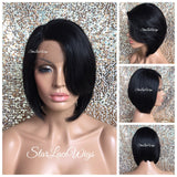 Lace Front Wig Asymmetrical Angled Bob Straight Black - Beverly