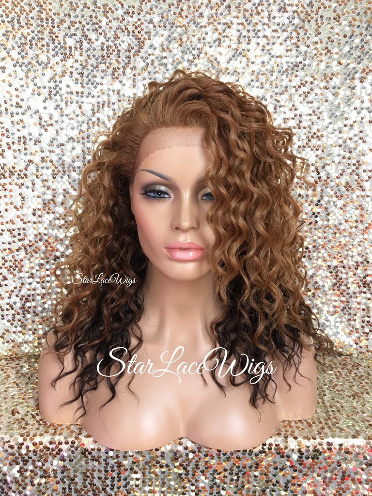 Lace Front Wig Wavy Strawberry Blonde Brown Ombre - Lea