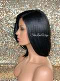 Synthetic Black Straight Full Layered Bob Wig Side Part - Meg