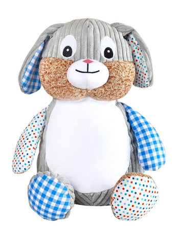 """Baby Cubbies"" Harlequin Rabbit, a personalized plush stuffed animal keepsake/baby gift - Celebrate! With Thread"