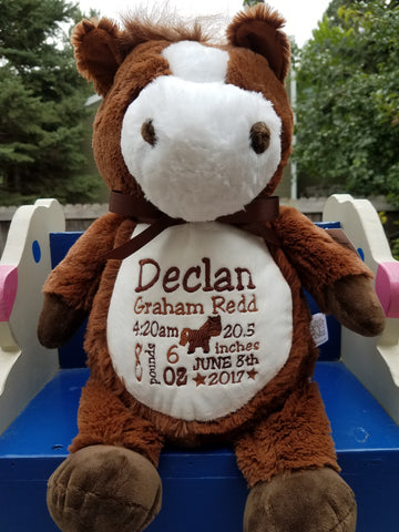 Personalized Horse by Little Elska®, Keepsake, embroidery included, Newborn, Baptism gift