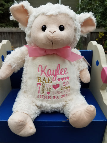 Personalized Lamb by Little Elska®, Keepsake, embroidery included, Newborn, Baptism or Baby gift