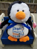 Personalized Pendrick Penguin by Embroider Buddy®, Keepsake, embroidery included, Newborn, Baptism or Baby gift