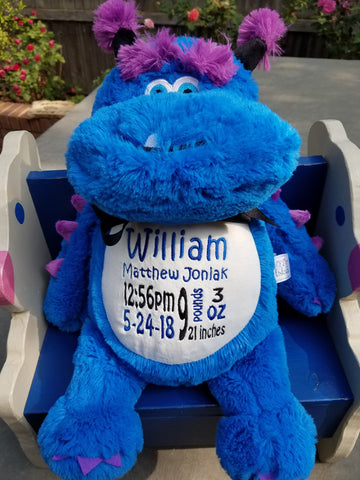 Personalized Blue Monster by Little Elska®, Keepsake, embroidery included, Newborn, Baptism or Baby gift