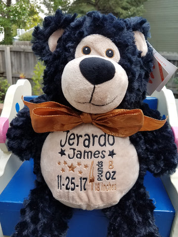Personalized Bobby Bear by Embroider Buddy®, Keepsake, embroidery included, Newborn, Baptism or Baby gift