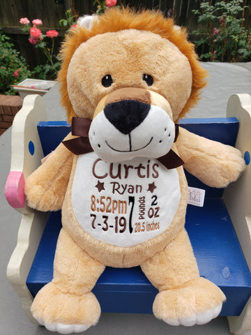Personalized Lion by Little Elska®, Keepsake, embroidery included, Newborn, Baptism or Baby gift