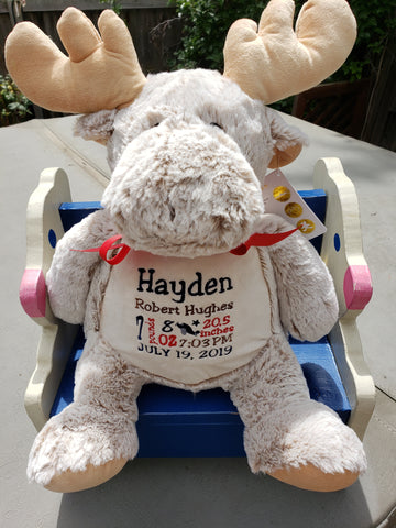 Personalized Mason Moose from the Clara Classic Collection by Embroider Buddy®, Keepsake, embroidery included, Newborn, Baptism or Baby gift