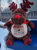 Personalized Christmas Reindeer by Little Elska®, Keepsake, embroidery included, Newborn, Baptism or Baby gift