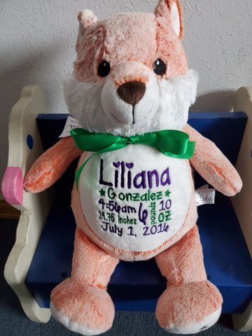 Personalized Fox by Little Elska®, Keepsake, embroidery included, Newborn, Baptism or Baby gift